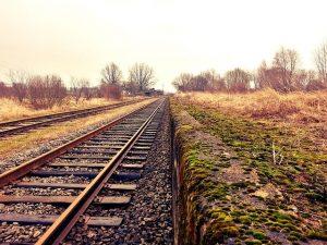 empty railroad in autumn